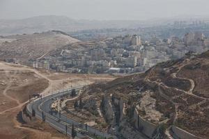 stad Jeruzalem in Israël werd gebouwd in de woestijn, het is een van de oudste steden ter wereld en wordt door joodse moslims en christenen als heilig beschouwd foto