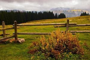 houten hek en bergen foto