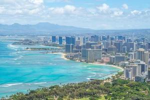 luchtfoto van honolulu op oahu, hawaii, us foto