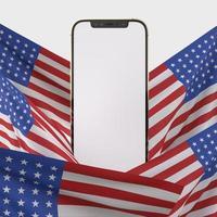 gelukkige 4 juli usa onafhankelijkheidsdag en smartphone-mockup met versier en Amerikaanse vlag foto