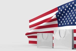 gelukkige 4 juli usa onafhankelijkheidsdag en boodschappentas mockup met wuivende nationale vlag foto