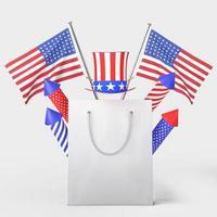 gelukkige 4 juli usa onafhankelijkheidsdag en boodschappentas mockup met versieren en amerikaanse vlag foto