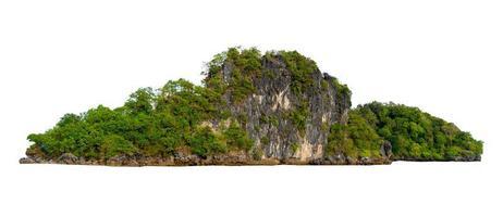 isoleer het eiland in het midden van de groene zee witte achtergrond gescheiden van de achtergrond foto