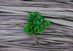natuurlijke pepermuntstengels, boeket met jute touwbinding plat lag op droge palmblad patroon textuur achtergrond. groene bladgroente met centraal compositieontwerp met ruimte ernaast, bovenaanzichtstijl. foto