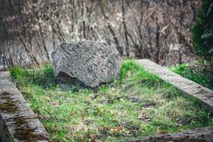 gebroken grijze grafsteen met letters op gras en bladloze haagachtergrond foto