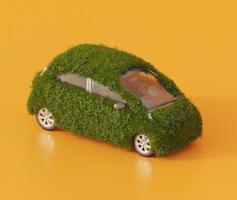 elektrische auto bedekt met gras foto