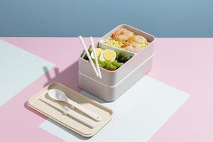 hoge hoeksamenstelling van Japanse bentobox foto