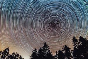 stersporen over de nachtelijke hemel, time-lapse van sterrenspoor, pijnbomen op de voorgrond, avala, belgrado, servië. de nachtelijke hemel is astronomisch nauwkeurig. foto