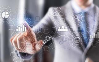 automatisering voor beheer van bedrijfstechnologie en workflowdiagram foto