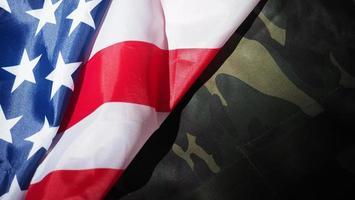 militaire hoed of tas met Amerikaanse vlag. foto