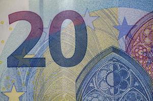 het detail van het biljet van 20 euro foto