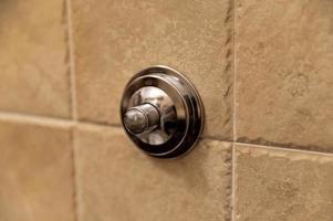 chromen badkamerspoelknop om het toilet door te spoelen foto