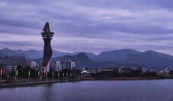 Expo-toren in de stad Sokcho. Zuid-Korea. januari 2018 foto