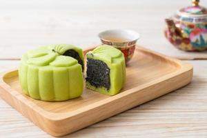 chinese moon cake groene thee smaak foto