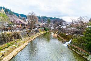 Takayama-stad. het wordt genoemd als het kleine Kyoto van Japan en is gevestigd sinds het Edo-tijdperk. foto
