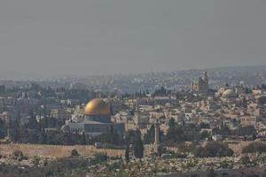 uitzicht op de oude stad van Jeruzalem in Israël foto