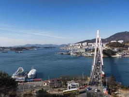 dolsan brug. Yeosu stad. Zuid-Korea foto