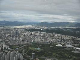 het prachtige uitzicht op de stad Seoel vanuit de lucht. Zuid-Korea foto