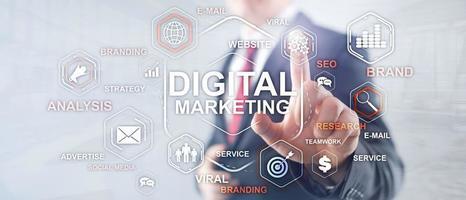 digitale marketing. gemengde media zakelijke achtergrond. foto