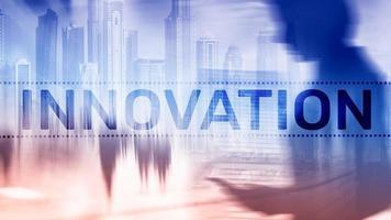 dubbele belichting innovatie tex. bedrijfs- en technologieconcept. foto