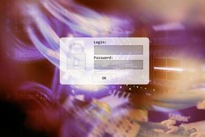 serverruimte, inlog- en wachtwoordverzoek, gegevenstoegang en beveiliging. foto
