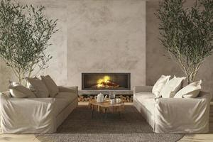 Scandinavische boerderij stijl woonkamer interieur met natuurlijke houten meubels en open haard 3d render illustratie render foto