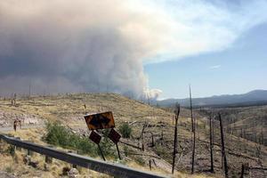 golvende rook van het huidige Gila National Forest Johnson Fire achter gebogen verkeersbord in oude burn foto