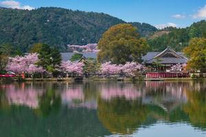 daikakuji-tempel en osawa-vijver in arashiyama, kyoto foto
