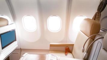 prachtig uitzicht vanuit business class van vliegtuigen foto