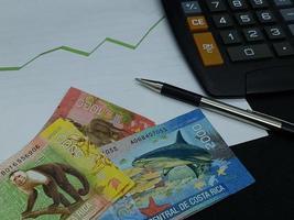 Costa Rica-bankbiljetten, pen en rekenmachine op achtergrond met stijgende trend groene lijn foto