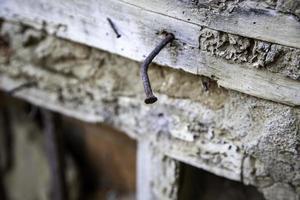 roestige spijker in hout foto