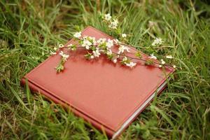 fotoboek op het gras. een leren fotoboek op een gras met een tak van bloeiende kers foto