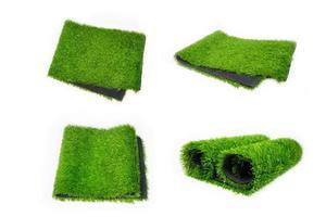 collage van kunstgras kunstgras, set plastic groene bekleding voor sportvelden illustratie foto