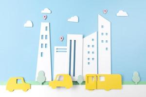 vervoersconcept met auto en gebouwen foto