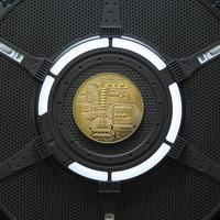 gouden bitcoin elektronische computer processor board foto