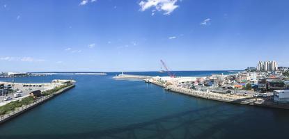 panorama. het uitzicht op de baai van Sokcho City. Zuid-Korea foto
