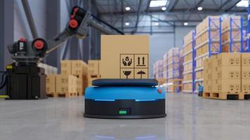 fabrieksautomatisering met agv en robotarm in transport om het transport veiliger te maken. foto