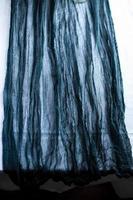 rustieke diepblauwe kleur gaas runner katoenen tafelkleed foto