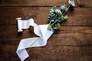 lint katoen voor bruidsboeket foto