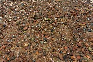 steen structuurpatroon op strand rode zee dahab egypte foto
