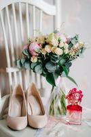 trouwschoenen van de bruid, mooie mode foto
