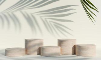 houten product display podium met schaduw natuur bladeren op witte achtergrond. 3D-rendering foto