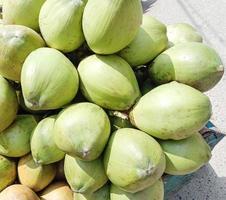 groen gekleurde rauwe kokosbouillon foto