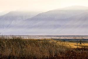 Owens Lake Californië bij zonsondergang foto