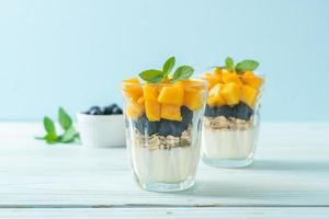 zelfgemaakte verse mango en verse bosbes met yoghurt en granola - gezonde voedingsstijl foto