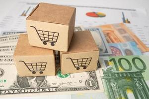 winkelwagentje-logo op doos met Amerikaanse dollar en eurobankbiljetten achtergrond, bankrekening, investeringsanalytisch onderzoek data-economie, handel, zakelijke import export online bedrijfsconcept. foto