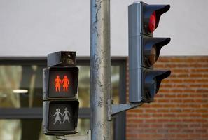 verkeerslichten en voetgangerslichtindicaties voor veiligheid foto