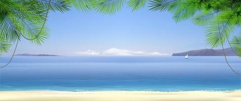 brede tropische strand banner achtergrond. landschap natuur. toevlucht foto