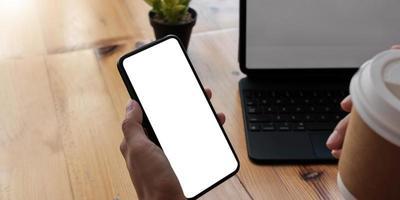 lege witte scherm mobiele telefoon foto