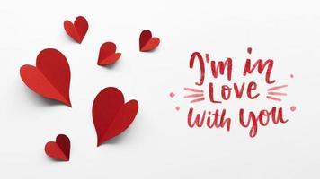 Valentijnsdag arrangement met tekst. mooi fotoconcept van hoge kwaliteit foto
